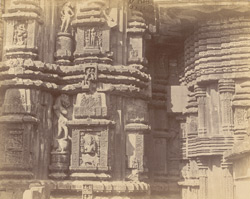 Close view of section of façade of shrine and antechamber of the Rajalinga Temple, Bhubaneshwar
